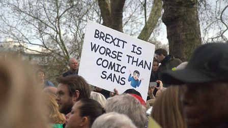 A People's Vote protester says Brexit is even worse than Comic Sans. Photograph: Twitter.