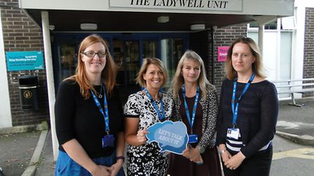 Alison Collins, Mandy Lane, Ruth Cole and Jacky Francis from the perinatal team are supporting our L