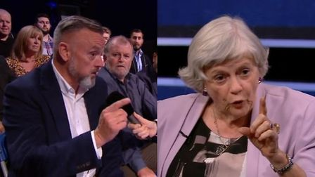 An audience member takes Ann Widdecombe to task for 'spreading hate'. Photograph: Channel 5.