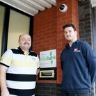 Food bank co-ordinator Steve Copland and M&E Alarms' Dean Lewis.
