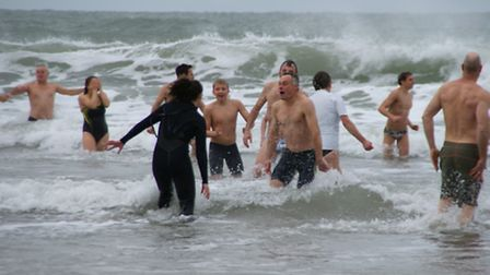 New Years Day swimmers brave the waves at Woolacombe. Picture: Andy Keeble