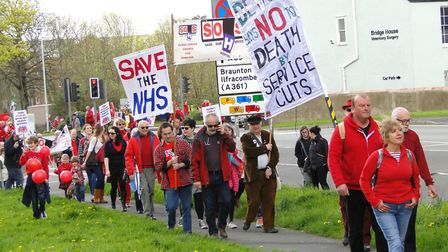 Campaigners marched from Pilton Park in Barnstaple to North Devon District Hospital in support of ho