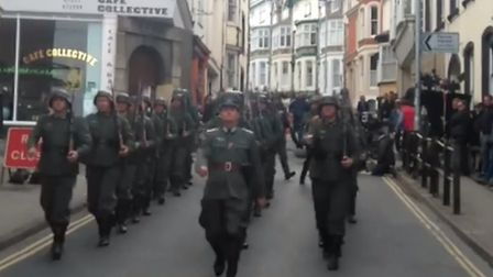 German troops march through Bideford as part of filming for bigscreen movie Guernsey. Picture: Tim B