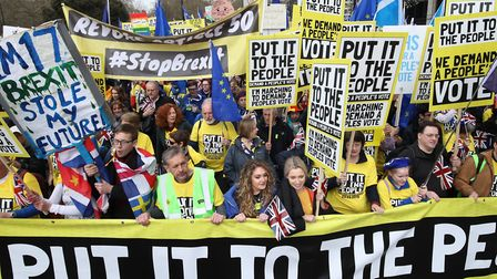 Anti-Brexit campaigners take part in the People's Vote March in London. Picture: PA/Yui Mok
