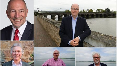 The North Devon election candidates, clockwise from top left: Mark Cann, Labour; Peter Heaton-Jones,