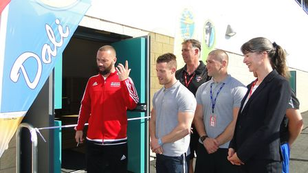 Christian Roberts carries out the official opening. Picture: Tony Gussin