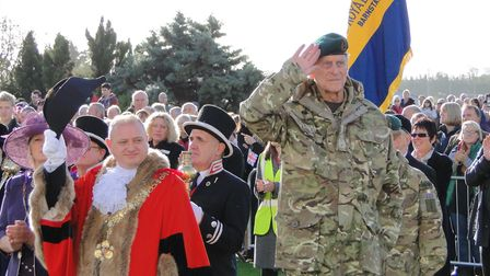 HRH Prince Philip, joined by the Mayor of Barnstaple Ian Roome, takes the salute as the troops march