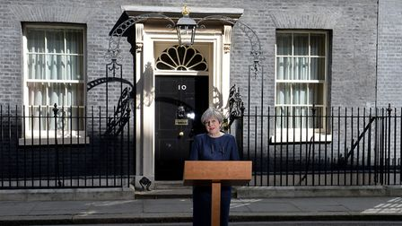 Theresa May makes a statement in Downing Street, London, announcing a snap general election on June