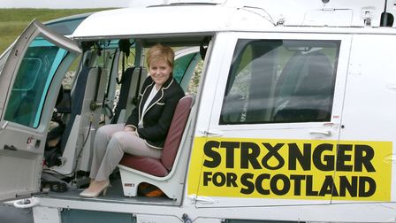 First Minister Nicola Sturgeon in her helicopter in Fife, as she tours Scotland ahead of the general