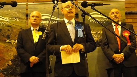 Peter Heaton-Jones makes his acceptance speech after the North Devon result is announced.