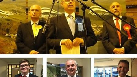 Top: Nick Harvey, Peter Heaton-Jones and Mark Cann at the North Devon Count. Bottom: Vince Barry, Ge