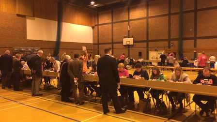 Counting underway at North Devon Leisure Centre for the North Devon General Election count 2017.