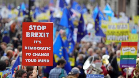 Anti-Brexit campaigners taking part in a People's Vote march in London. Photograph: Aaron Chown/PA.