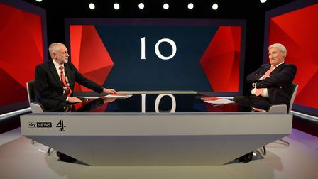 Labour leader Jeremy Corbyn (left) is interviewed by Jeremy Paxman during a joint Channel 4 and Sky