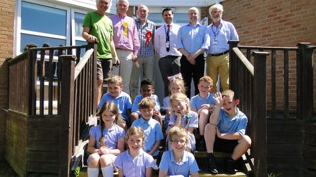The five North Devon election candidates with the pupils who interviewed them at Our Lady's School i