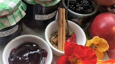 Spiced blackberry and apple jelly by Marshford Organic Foods.
