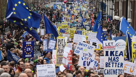 People's Vote campaigners are marching in London on the day of the vote on Boris Johnson's Brexit de