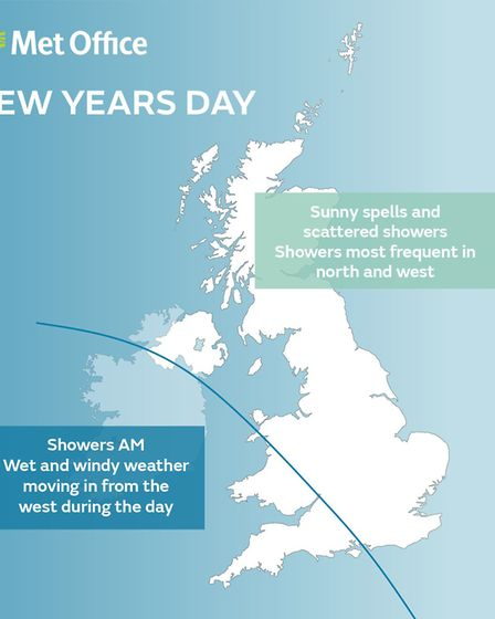 It could be a wet and windy New Year's Day in North Devon.