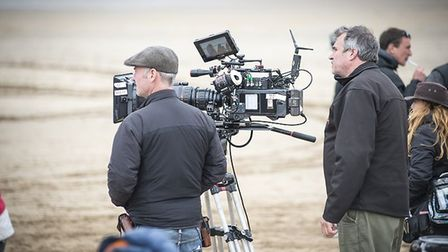 Filming on Saunton Beach for the big screen adaptation of The Guernsey Literary and Potato Peel Pie