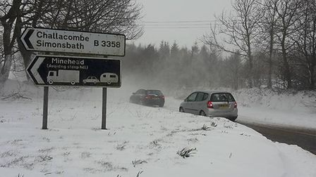 The A399 near the Challacombe turning on Sunday morning. Picture: What's On Combe Martin