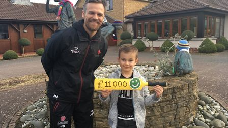 Somerset's James Hildreth meets cricket fan Fynn, aged 7, on his visit to the charity's Little Bridg