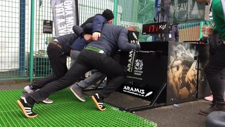 One of the Aramis Rugby digital scrum machines in action with fans at Murrayfield in Scotland for Si