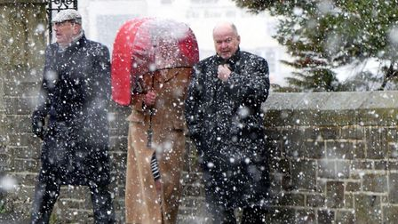 Dignitaries battle the blizzard for the annual Manor Court celebrations in Bideford on Sunday. Pictu