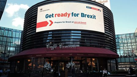 An electronic display showing a 'Get ready for Brexit' Government advert,in London. Photograph: Yui