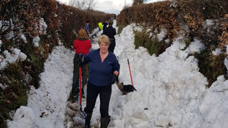 Community spirit - Digging a path to get food for horses and cattle Sparhanger. Picture: Lee Bond