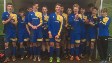 Bideford Blues under-15s pictured after their quarter-final Devon County Cup win at St Martins. Pict