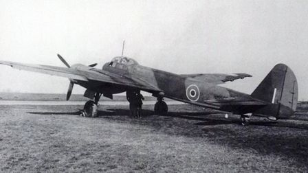 A German Ju-88 that landed by mistake at Chivenor during the war - pictured here in RAF colours afte