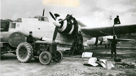 A Wellington of 407 Squadron undergoing maintenance at Chivenor, December 1944. Picture: Contributed