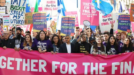 Sir Patrick Stewart (far left) and Mayor of London Sadiq Khan (centre) join young protesters at a Pe