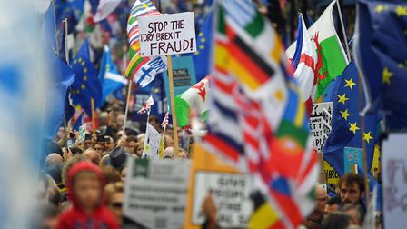 Anti-Brexit campaigners on the streets of London. Photograph: Victoria Jones/PA.