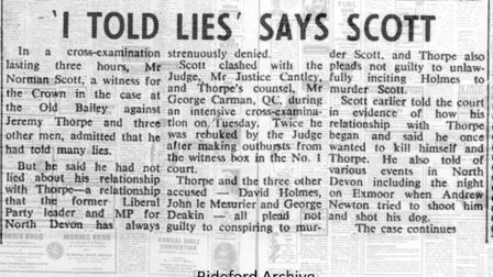 Cuttings from the Gazette showing the coverage of the Jeremy Thorpe trial. Supplied by: Bideford and