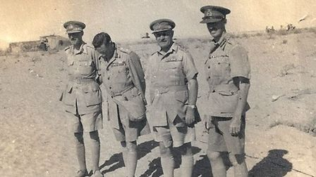 Eric Dorman O'Gowan with General Cunningham, General Auchinleck and General Wavell at El Alamein. Ph