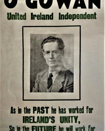 Dorman O'Gowan runs as an indpenedent United Ireland candidate in the 1950s. Photograph: Supplied.
