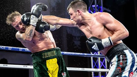 Tommy Langford in action against Jason Welborn. Picture: MSN images