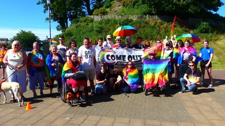 Participants gather for the first ever Gay Pride march in Barnstaple. Picture: contributed