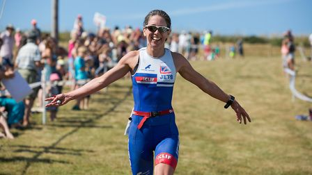 Elizabeth Richardson was the fastest female at Croyde Ocean Triathlon 2018. Picture: howaboutdave ph