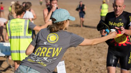 Actress Charity Wakefield was handing out water at Croyde Ocean Triathlon 2018. Picture: howaboutdav