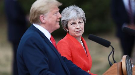 US President Donald Trump and Prime Minister Theresa May during a joint press conference following t