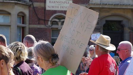 Protesters in Barnstaple Sqaure demonstrating against Donald Trump's visit to the UK. Picture: Simon