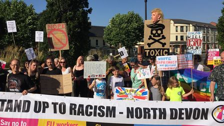 The protest in Barnstaple on Friday evening against Donald Trump's visit to the UK. Picture: Ewan So