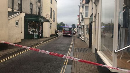 Firefighters were called to deal with a fire at the John May butcher's shop in South Molton. Picture