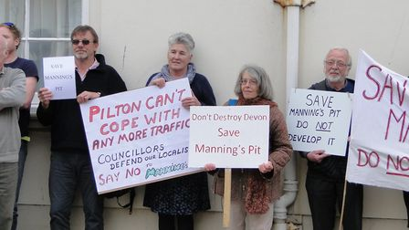 Protesters against building on Manning's Pit. Picture: Sarah Howells