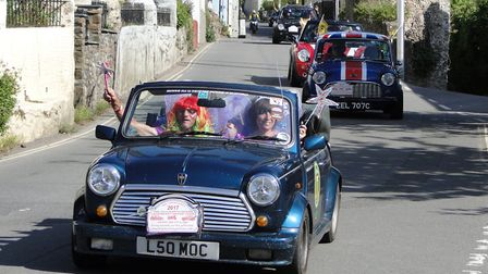 The Minis make their way through Combe Martin during the Legendary Grand Tour 2017. Picture: Tony Gu