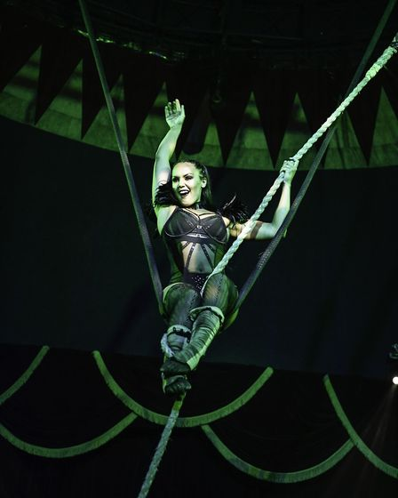 The flying dominatrix at the Cirque du Vulgar. Picture: Andrew Payne