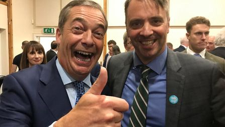 Nigel Farage with Graham Cushway. Photograph: Twitter.