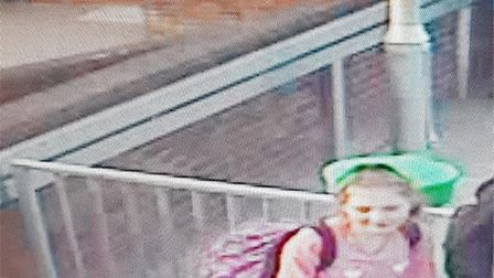 A CCTV still shows Ellie on the North Bound Platform at Tiverton Parkway Train Station at 7.27pm on
